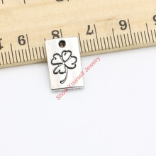 20pcs Tibetan Silver Plated Clover Get Lucky Charms Pendants for Necklace Jewelry Making DIY Handmade Craft 16x10mm(China (Mainland))