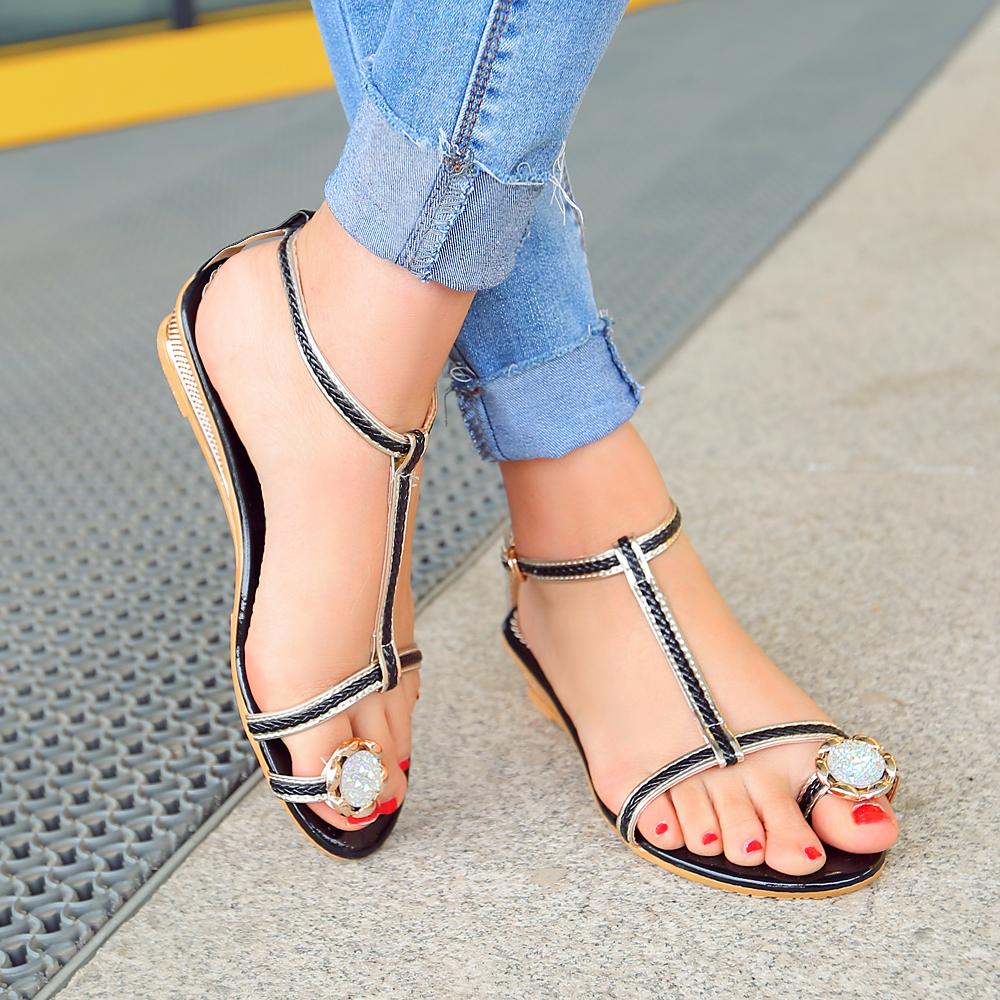 Black nice sandals - New Fashion Women Sandals Nice T Strap Wedges Heels Popular Black Blue White Beige Shoes
