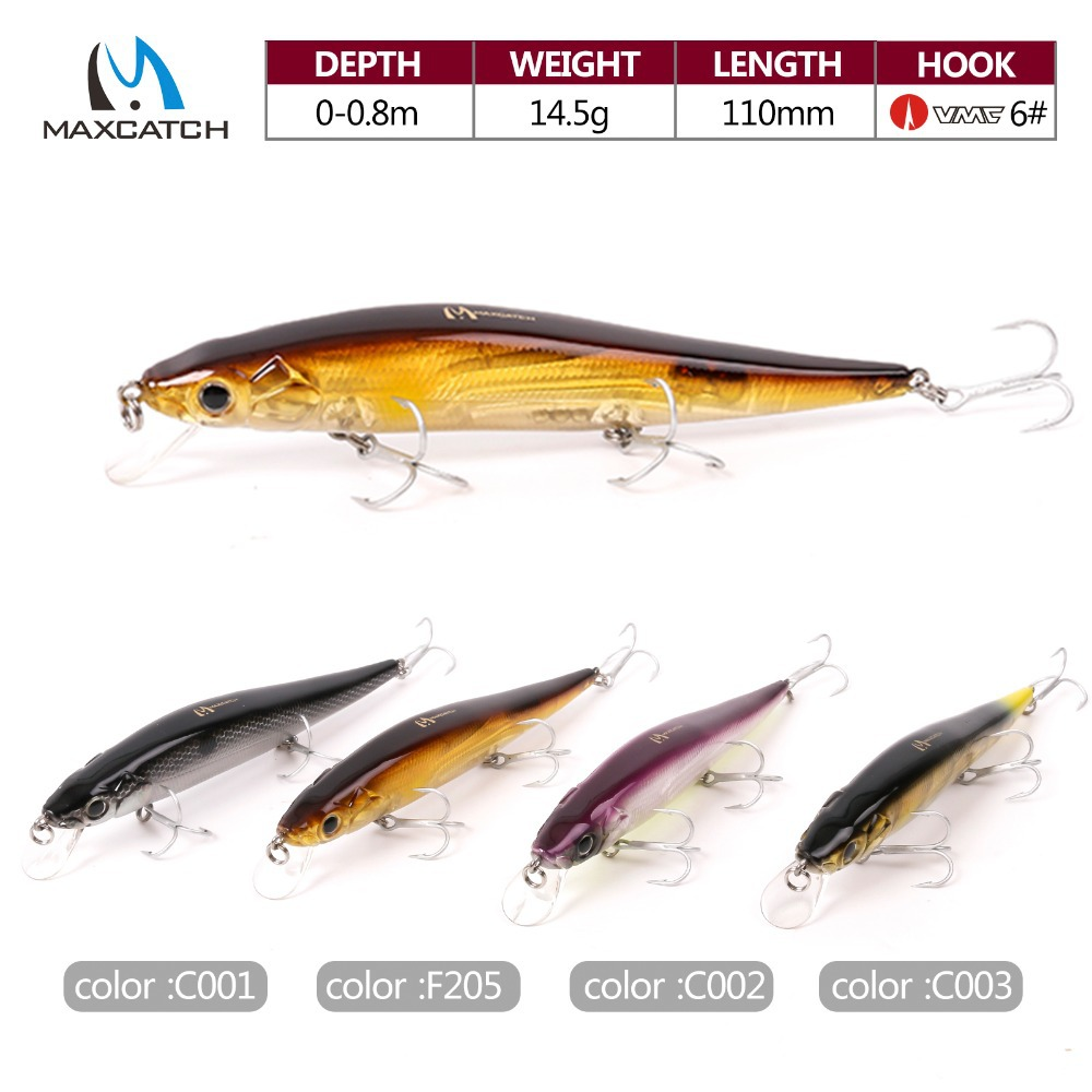 Maxcatch 4 Pcs Minnow Bass Fishing Lures Crank Bait With VMC Hooks Hard Fishing Lures Artificial Bait Floating Lures(China (Mainland))