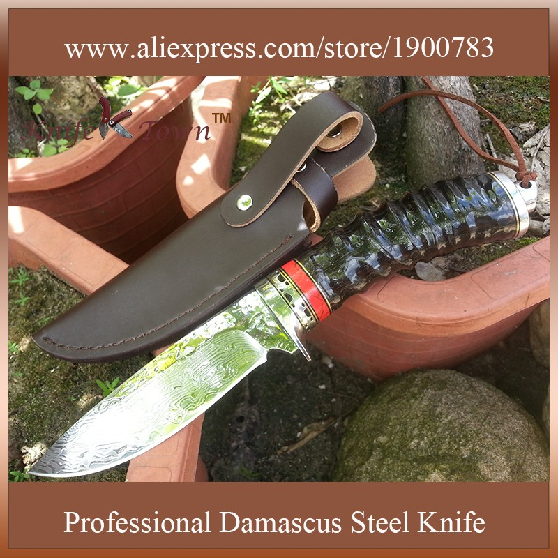 Buy DT029 High quality handmade knife Damascus steel blade sheep Horn handle Hunting knives survival knives us army tactical knife cheap