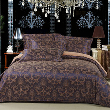100% Cotton satin jacquard embroidered bedding set Classic fashion bed set(China (Mainland))