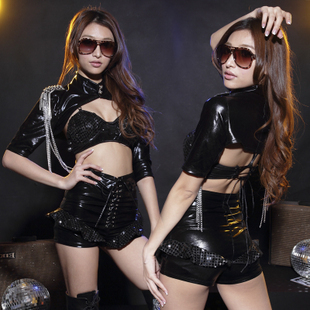 Black japanned leather female police uniform photography services cars clothes ds costume steel pipe stage clothes(China (Mainland))