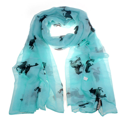 New Design Women Running Horse Print Long Scarf Shawl Wrap Stole Voile free shipping!