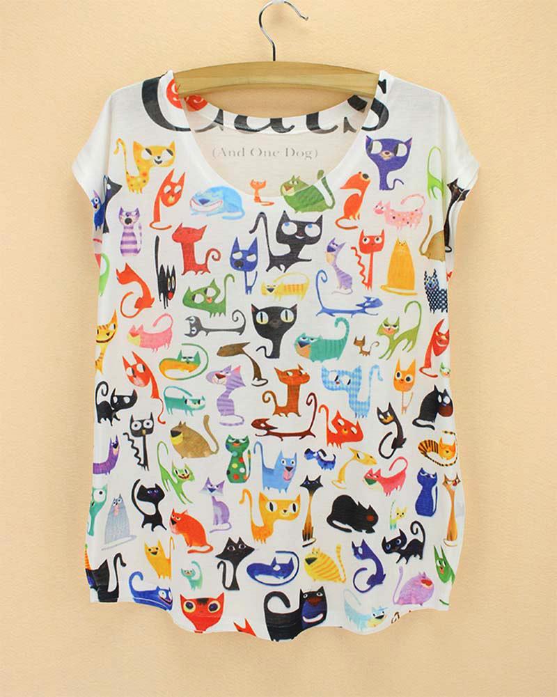 Doodle Cats print Tshirt ladies Novelty pattern t-shirts womens fashion summer dress big size tops tees short sleeved clothing(China (Mainland))