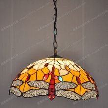Free shipping 35CM European retro Red Dragonfly Tiffany glass chandelier table lamps cafe kitchen sun room lighting(China (Mainland))