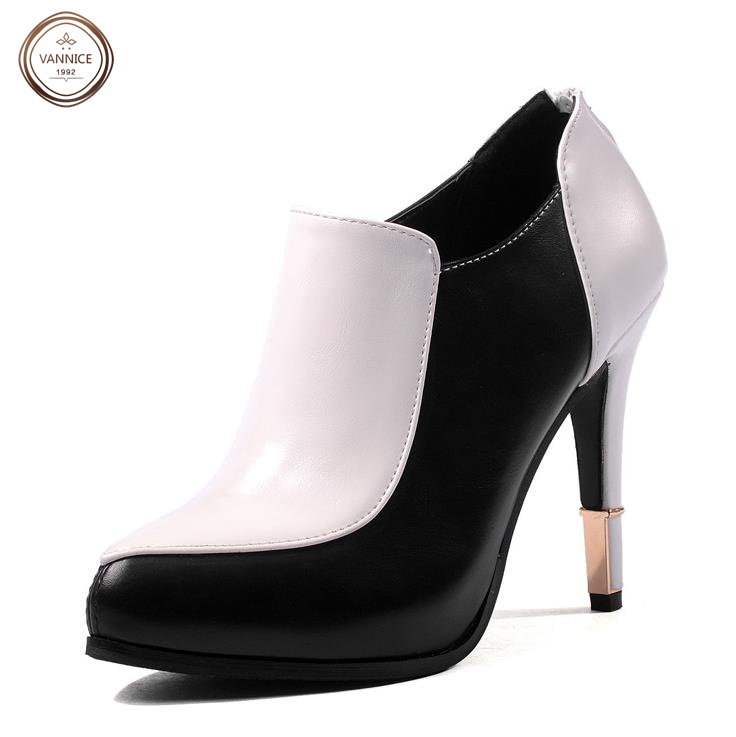 2016 New Style Womens Fashion Designer Ankle Boots Top Quality Genuine Leather Ladies High Heel Boots Party Pumps 2 Colors.<br><br>Aliexpress