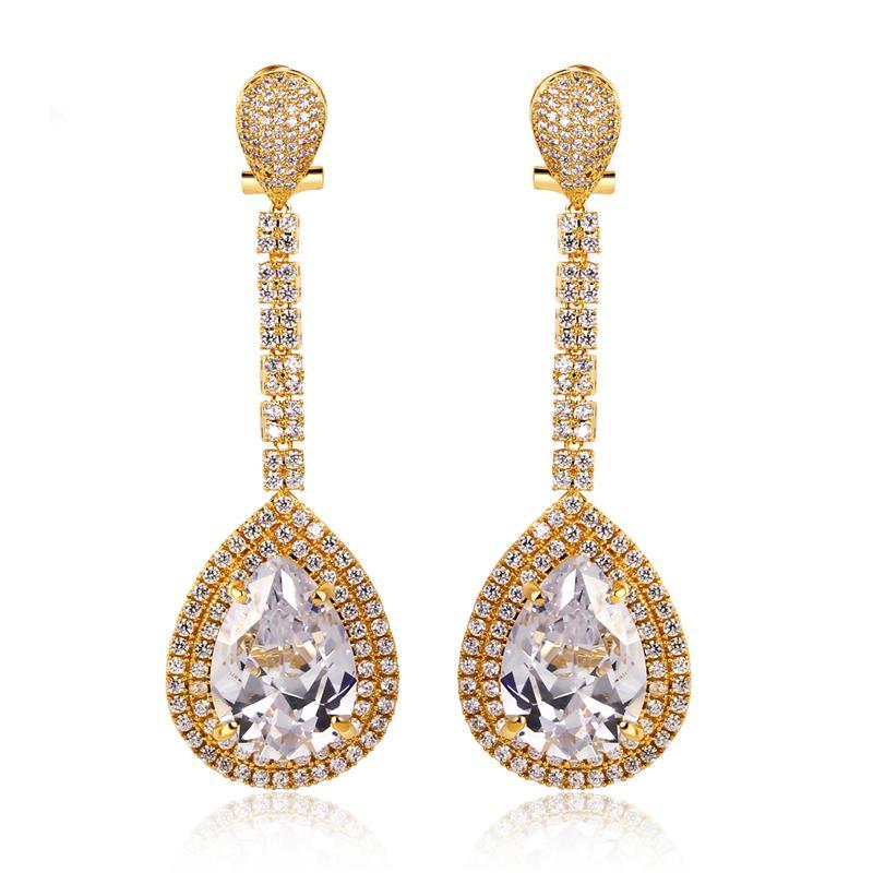 KU Earrings Women Classic Big Tear Wedding party Top Grade Cubic Zirconia Prong Setting Nickel & Lead Free - Kuromi's Luxury store