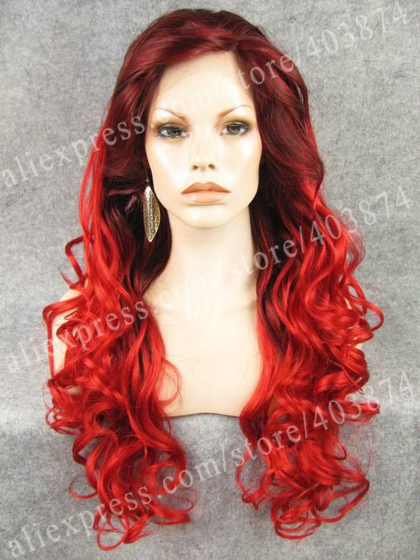 Здесь можно купить  Christmas Wig Fancy Ombre Wavy Red Two Tone Synthetic Lace Font Wig Fast Deliver Halloween   Волосы и аксессуары