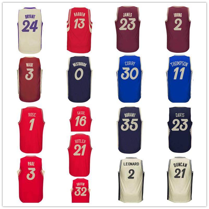 Гаджет  2016 Christmas Curry James Irving Rose Kobe Durant Westbrook Harden Davis Wade Griffin Duncan Gasol Butler Basketball Jersey None Спорт и развлечения