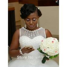 Buy 2016 White Tulle Ball Gown African Puffy Wedding Dress Luxury Perls Beading Princess Bride Bridal Gown vestido de noiva for $169.15 in AliExpress store