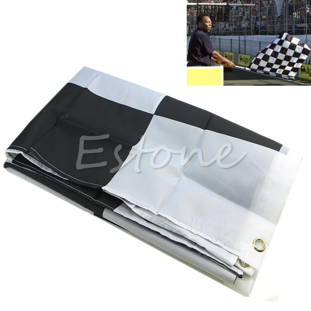 F85 New 90cm*150cm Black White Nascar Flag Checkered Motorsport Racing Banner(China (Mainland))