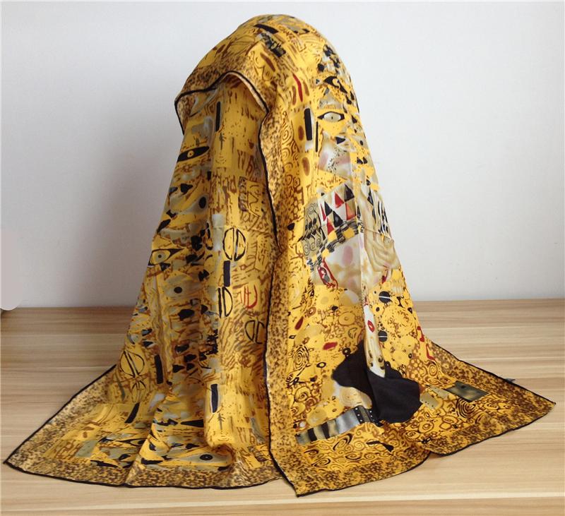 Oil Paint Crepe Silk Scarf Women 100% Pure Silk Scarfs Shawls And Scarves Poncho Handrim Hijab Cachecol Foulard 156X42cm SF0013(China (Mainland))