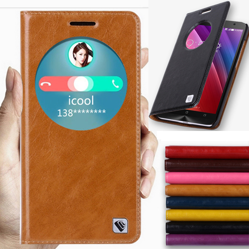 8 Color,Natural Top Genuine Leather Smart Window Flip Stand Cover Case For ASUS Zenfone 2 5.5'' ZE551ML Luxury Mobile Phone Bags(China (Mainland))