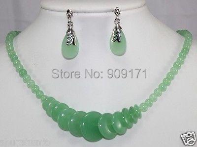 "Free Shipping>>Green Jade Jewelry Necklace 17""set(China (Mainland))"