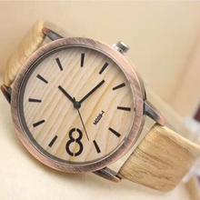 2015 New Women Quartz Watch Simulation Wood Grain Print Big Dial Bamboo Watch  PU Leather Band Dress Watch Casual Wristwatch