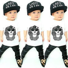 2016 Baby Kids Girl Boy Clothes Sphinx Printed Tops T-shirt Faux Leather Pants Outfits Set 1-5Y(China (Mainland))