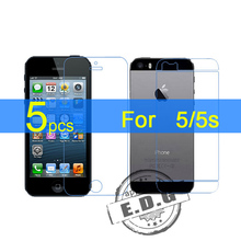 5pcs Gloss Ultra Clear LCD Screen Protector Film Cover For Apple iphone 5 5G 5s front+back Film + cloth