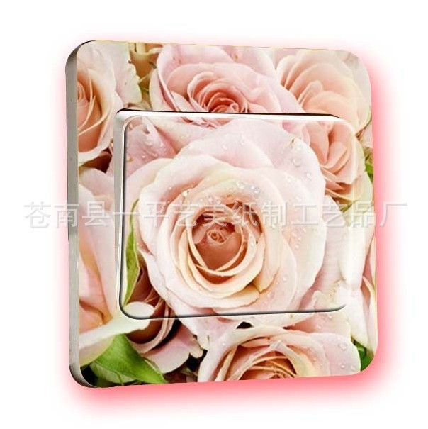 Free shipping 2016 new hot Color European-style garden pale roses switch stickers  warm family