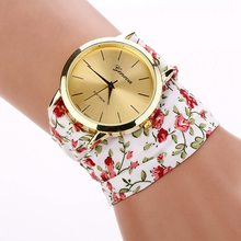 Hot New brand luxury geneva watch women Fabric Analog Quartz Bracelet Dress Wrist Watch White Pink