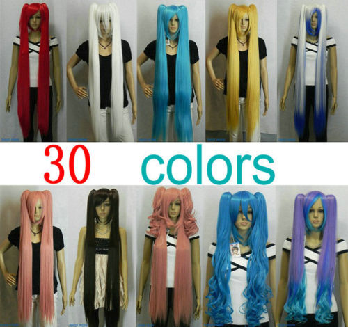 Lolita (30 colors) Split type Extra Long Cosplay Wig Lori Loli Girls Ponytails USPS USA j0148