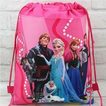2016 minion elsa gmy school bag non-woven string shoe backpack shopping bag for boys and girls kids birthday gifts all match(China (Mainland))