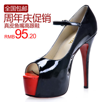2013 black high-heeled shoes genuine leather open toe summer single shoes female fashion shoes ultra high heels women's sandals
