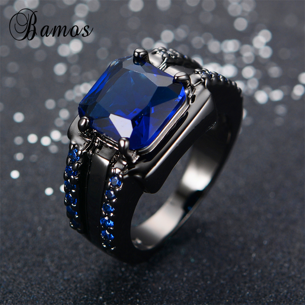 Bamos Male Blue Oval Ring High Quality Fashion Black Gold Filled Jewelry Vintage Wedding Rings For Men 2017 New Year Gifts(China (Mainland))