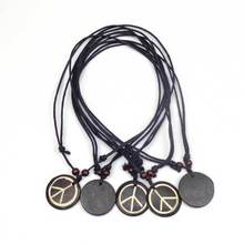 1 pcs Retro peace sign pendants Material Yak bone with Wood Beads size can be adjusted Tribal Jewelry talismans necklace(China (Mainland))