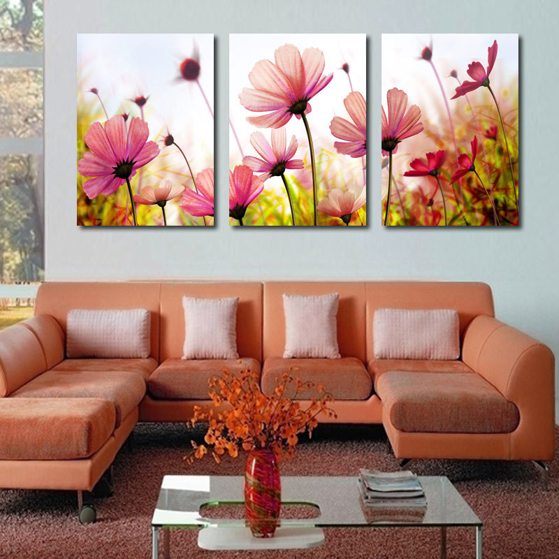 Modern abstract palette knife poppies flower oil painting for Wall paintings for living room