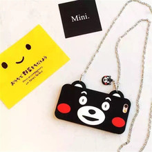 Kumamon Shape Silicone Mobile Phone Case Anti Fall Protection Cover With Pendant Chain For Iphone6,6Plus Mobile Phone Bag