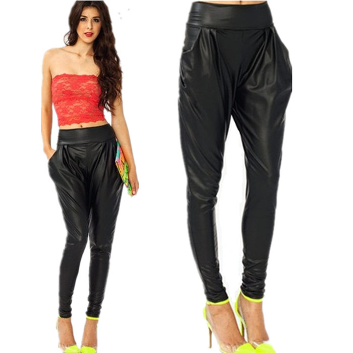 Lastest  Glamour Christmas Forward Faux Leather Harem Pants Favorite Pants