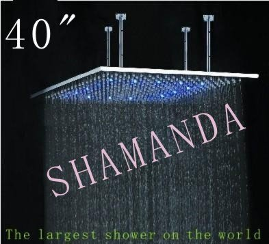 Free Shipping 40 inch LED shower head with stainless steel 1000*1000 self-powered led shower head light shower three color 20022(China (Mainland))