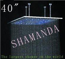 Il trasporto libero 40 pollice led soffione doccia in acciaio inox 1000*1000 autoalimentato led doccia di luce soffione doccia a tre colori 20022(China (Mainland))