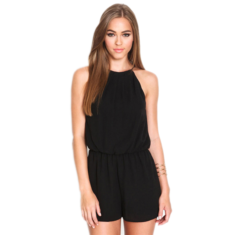 Womens Playsuit Rompers Overalls Sexy Summer Brand Casual Black Sleeveless Halter Keyhole Back JumpsuitОдежда и ак�е��уары<br><br><br>Aliexpress