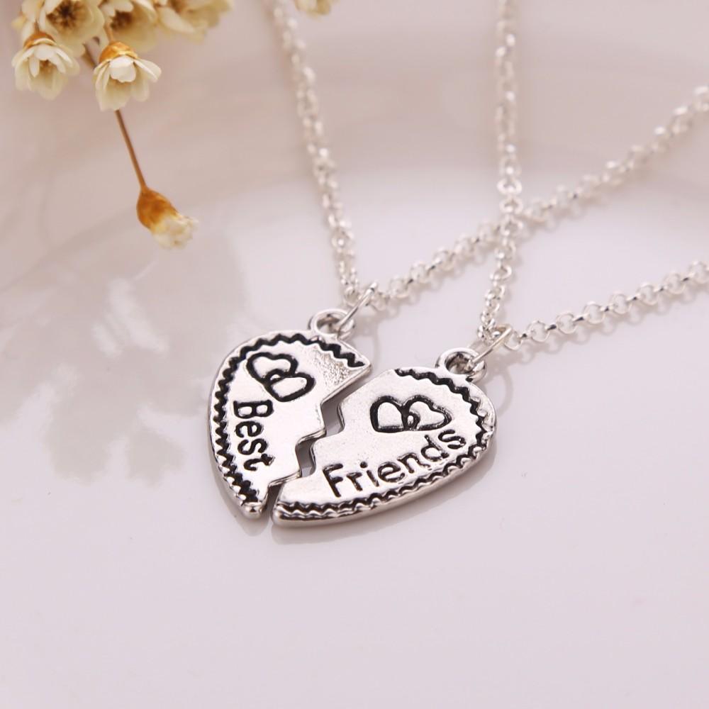 Flower Veins Split heart  Best Friends Necklace –  BFF Accessories jewelry