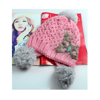 High quality Women Girls Knitted Warm Outdoor Cap with Bowknot Pattern Hat Winter Autumn top best #1