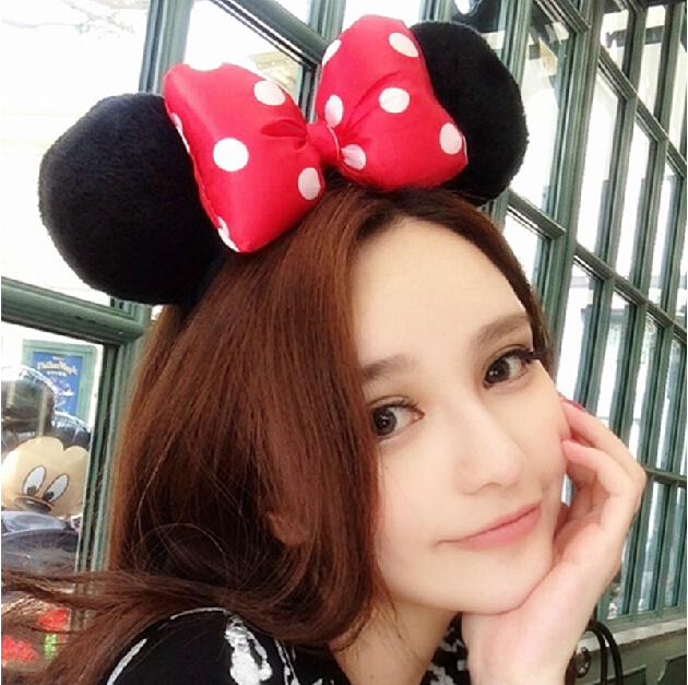 Red Bow Adult Minnie Mickey Mouse Ears Headband Birthday Party Decoration Kid Minnie Mickey Mouse Bachelorette Party Supplies(China (Mainland))