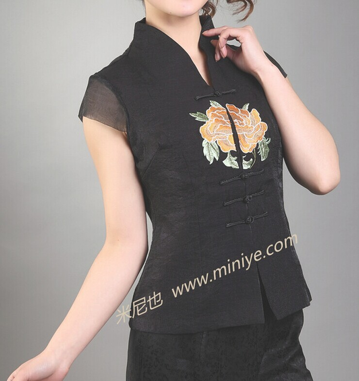 Hot Sale Black Vintage Chinese Womens Satin Embroidery Shirt Top V-Neck Short Sleeves Flower Size S M L XL XXL XXXLОдежда и ак�е��уары<br><br><br>Aliexpress