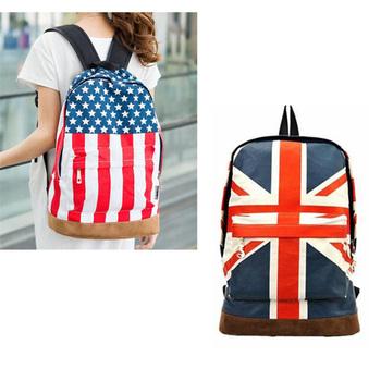 2015 New Hot  PromotionUS UK Flag Star-Spangled Banner Unisex Wome Men Canvas teenager School Backpack