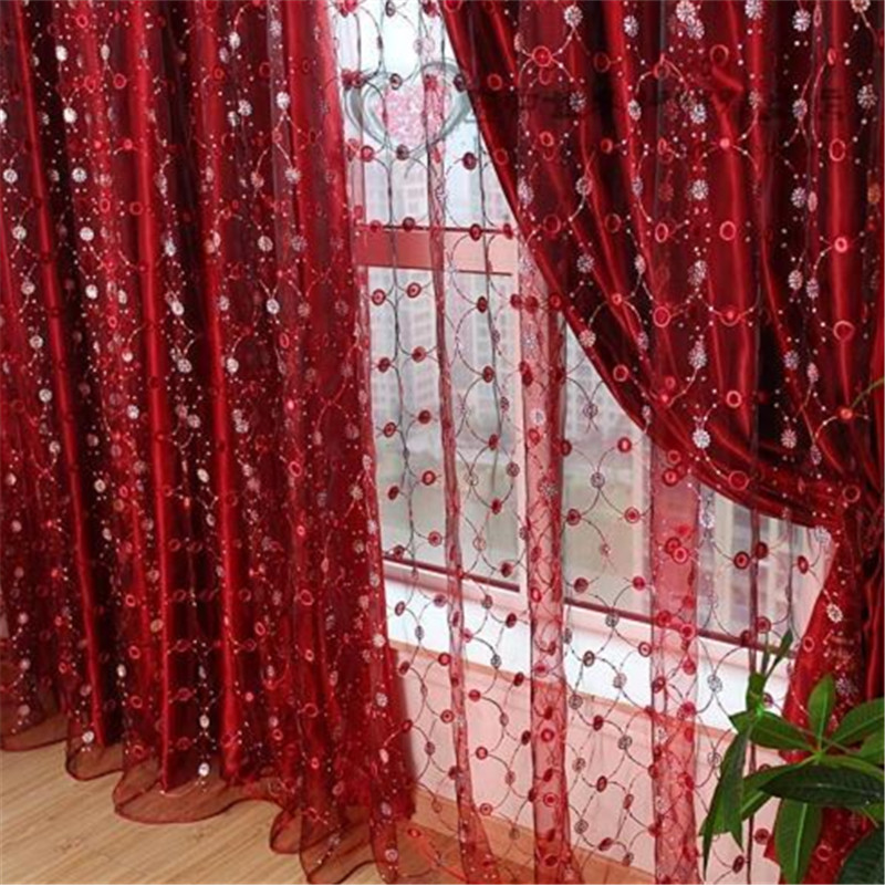 Sheer red window curtains luxury red window curtain