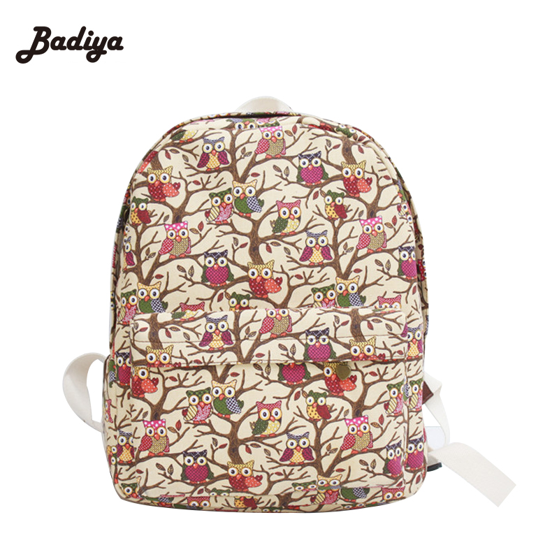 2016 Newest Stylish Cool Canvas Owl Backpack For Students Korean Style Female Bags Casual Cartoon Travel School Backpacks(China (Mainland))