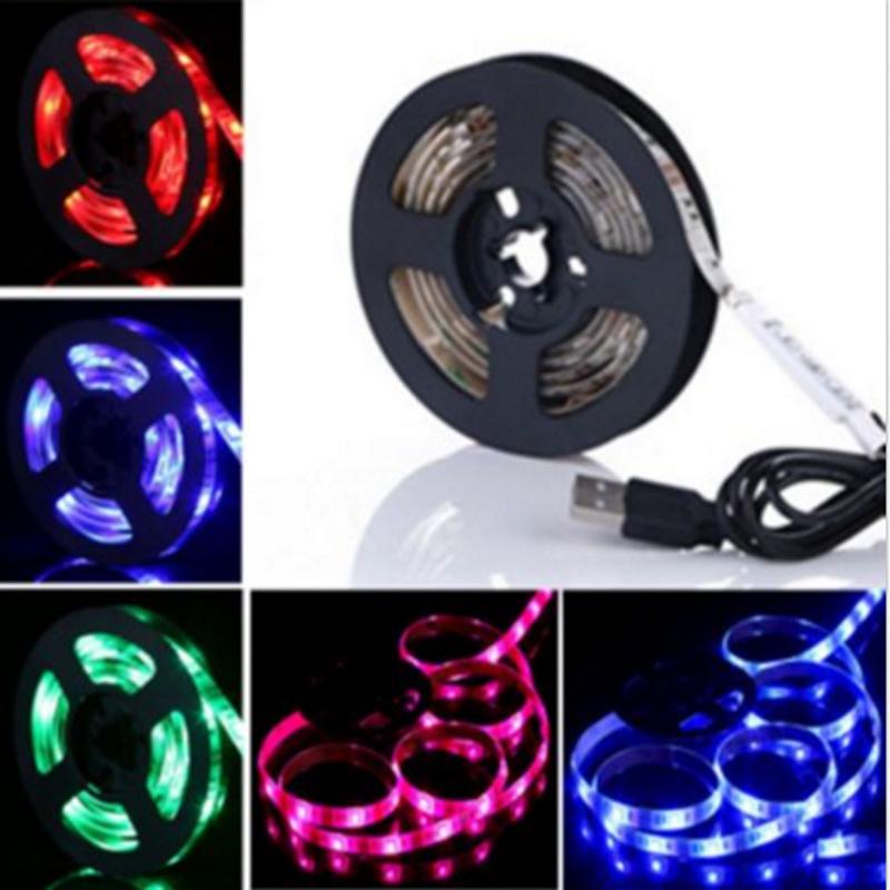 50cm 100cm 150cm 200cm 5V USB LED Strip 5050 RGB LED Tape TV Background Lighting DIY Decorative Lamp Powered by Powerbank(China (Mainland))