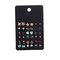 Cute Design Mixed Stud Earrings Sets Multicolor Geometric Stud Shiny Rhinestone Star and Heart Earrings Set