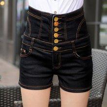 Celana Pendek Wanita Jeans 2019 Musim Panas Denim Celana Pendek Tinggi Pinggang Satu Tombol Peregangan Vintage Ukuran Lebih 5XL Pakaian Wanita(China)