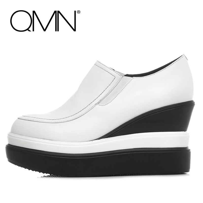 Фотография QMN brand genuine leather women platform flats Women Loafers Slip On Shoes Woman Creepers Ladies Shoes Zapatos Mujer White/Black