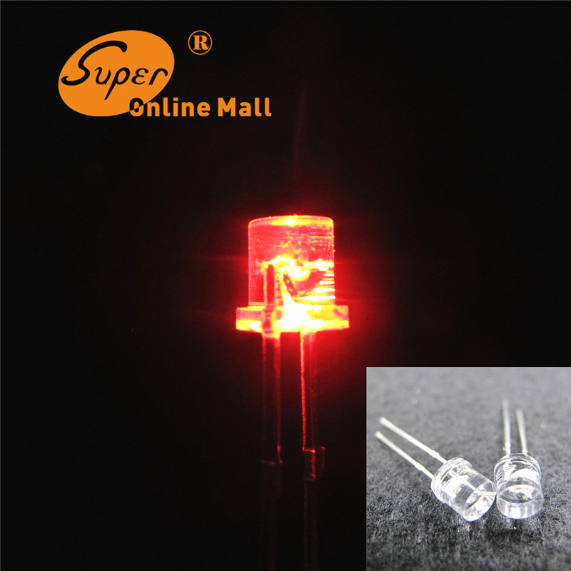 100 pcs 5mm LED Flat Top Red LED Diode Ultra Bright emitting diodes 5mm LEDS Wide Angle Light lamp High quality(China (Mainland))