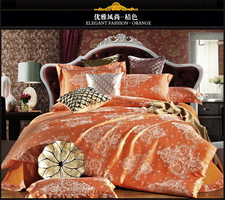 Orange silk bedding set 4pcs wedding bed cover silk bed set 60s yarn bedding-set queen comforter cover new design sale 5025(China (Mainland))