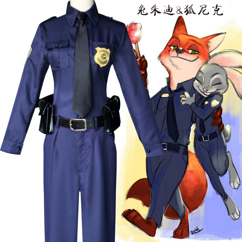 FREE PP 2016 Zootopia Officer Judy Hopps Costume Halloween Party Club Cosplay Costumes For Women Girls