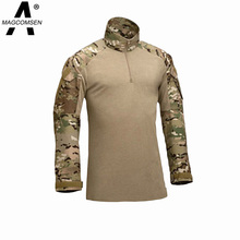 Camouflage military uniform combat shirt cargo multicam Airsoft paintball militar tactical clothing with elbow pads AG-JNSZ-006(China (Mainland))