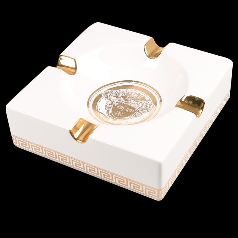 New Type Luxury Gadgets White&Black Vintage Style Square High Quality Ceramic 4 Tube Cigar Ashtray(China (Mainland))